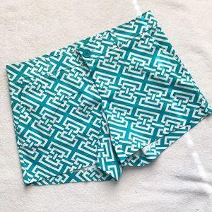 Teal Green & White Geometric Shorts